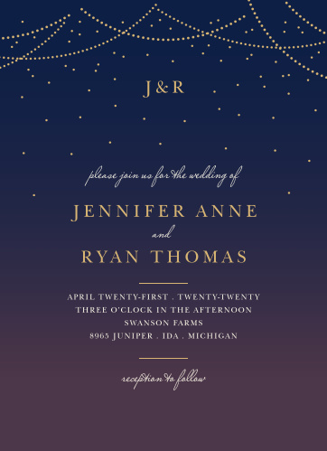 Enjoy the company of your friends and family when you use our Light & Lantern Wedding Invitations to invite them.