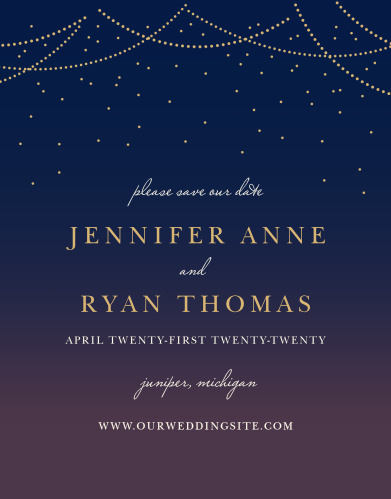 Our Light & Lantern Save-the-Date Cards ensure that your loved ones mark their calendars well in advance of your special day.