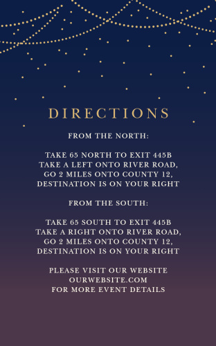 Our Light & Lantern Direction Cards utilize the same gorgeous design and color scheme as several other cards in the Light & Lantern wedding suite.
