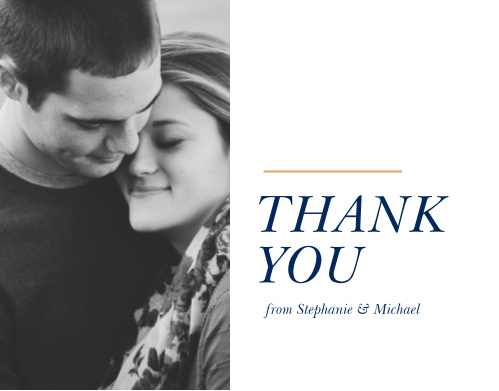 Our Stacked Italic Thank You Cards utilize the same gorgeous design and color scheme as several other cards in the Stacked Italic wedding suite.