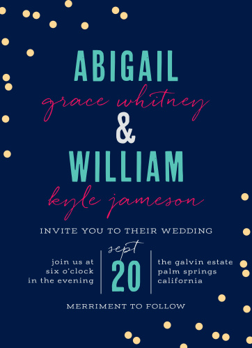 Our Color Pop Wedding Invitations are a stunning ensemble of eye-catching hues and tantalizing typefaces.