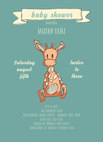 Giraffe baby shower invitations match your color style free toy giraffe baby shower invitations filmwisefo