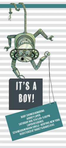 It's a monkey made out of tools and hardware!!! It's perfect to announce your new baby boy!