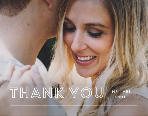 Our Bold Outline Thank You Cards utilize the same gorgeous design and color scheme as several other cards in the Bold Outline wedding suite.
