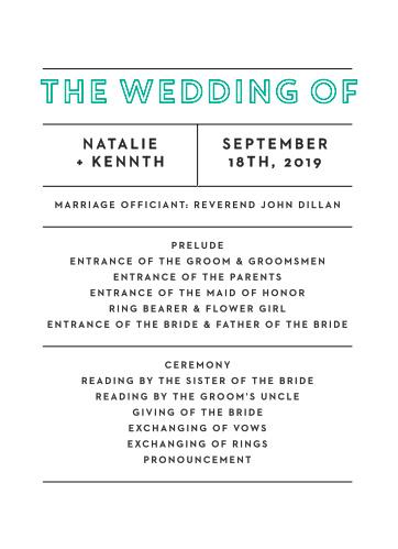 Our Bold Outline Wedding Programs utilize the same gorgeous design and color scheme as several other cards in the Bold Outline wedding suite