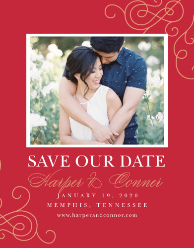 Our Color of Love Save-the-Date Magnets are classically romantic.