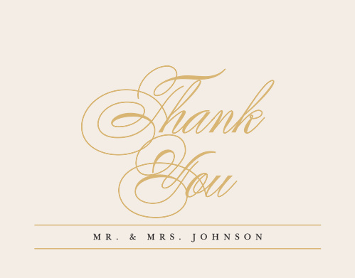 Our Timeless Type Thank You Cards utilize the same gorgeous design and color scheme as several other cards in the Timeless Type wedding suite.