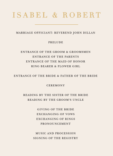Our Timeless Type Wedding Programs utilize the same gorgeous design and color scheme as several other cards in the Timeless Type wedding suite.