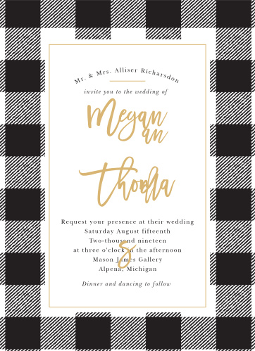 For a beautiful invitation befitting the elegance of your wedding plans, look no further than our Rustic Plaid Wedding Invitations.