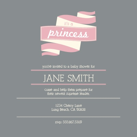 Celebrate your little princess with your family and friends with this cute baby shower invite.