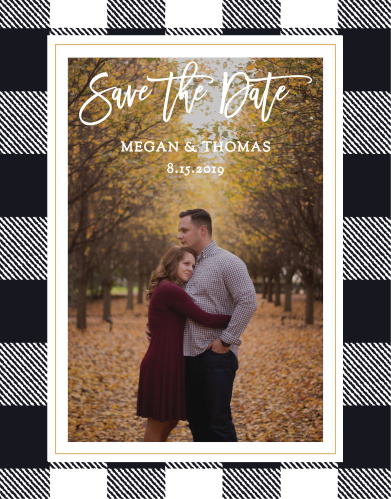 Our Rustic Plaid Save-the-Date Cards ensure that your loved ones mark their calendars well in advance of your special day.