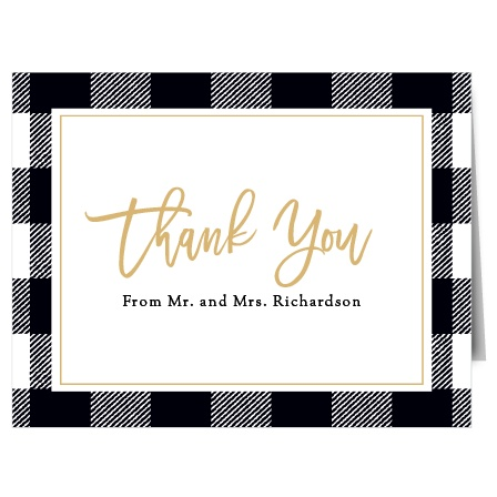 Our Rustic Plaid Thank You Cards utilize the same gorgeous design and color scheme as several other cards in the Rustic Plaid wedding suite.