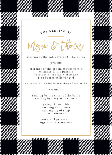 Our Rustic Plaid Wedding Programs utilize the same gorgeous design and color scheme as several other cards in the Rustic Plaid wedding suite.