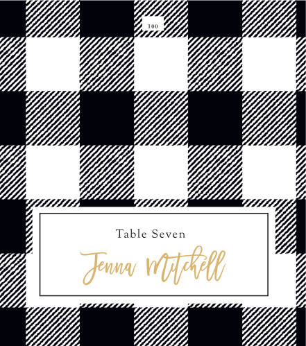 Our Rustic Plaid Place Cards utilize the same gorgeous design and color scheme as several other cards in the Rustic Plaid wedding suite.