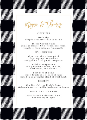 Our Rustic Plaid Wedding Menus utilize the same gorgeous design and color scheme as several other cards in the Rustic Plaid wedding suite.