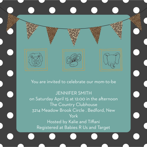 Our Framed Safari Baby Shower Invitations are cute and full of all kinds of animal fun.