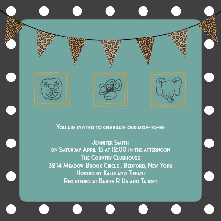 The Safari is cute and full of all kinds of animal fun. The best part, is whether you're having a girl or boy you can customize this invite to match accordingly.