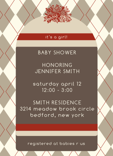 You can't go wrong with the classic sock monkey! For a girl or a boy, you cant customize this invite to match accordingly!