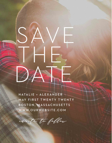 Our Modern Ombre Save-the-Date Cards are as beautiful as the photo you choose to adorn their background. With a duo of typefaces- a clean and classic print, as well as a looping calligraphy-, these cards tell your guests everything they need to know.