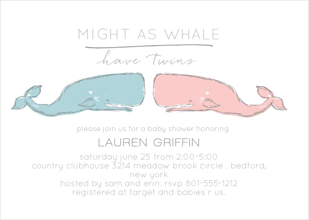 Might as Whale Baby Shower Invitation