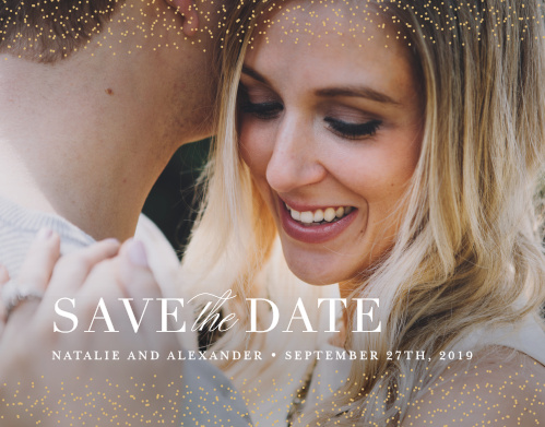 Our Luminous Sparkles Save-the-Date Cards ensure that your loved ones mark their calendars well in advance of your special day.