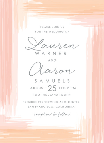 Our stunning Artful Gallery Wedding Invitations are covered in swatches of peach and papaya paint, creating a border around the card like a coastal sunset.