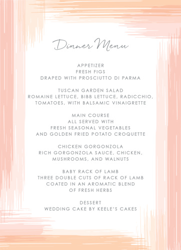 Describe your guests' meal options in mouth-watering detail using our Artful Gallery Wedding Menus.