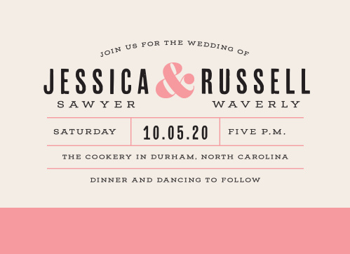 For a beautiful invitation befitting the elegance of your wedding plans, look no further than our Color Block Wedding Invitations.