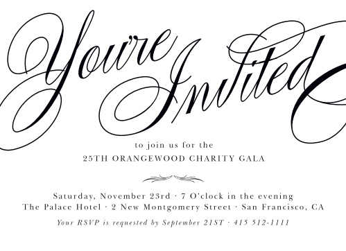 Celebrate the night away with our stunning Formal Calligraphy Gala Invitations.
