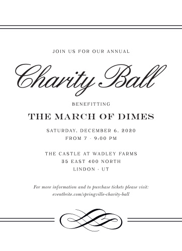 Celebrate the night away with our stunning Classic Charity Ball Gala Invitations.