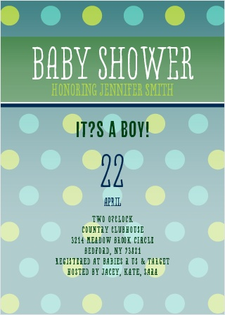 Polka-dots are always a classic! Whether you're having a girl or boy you can customize this invitation to match your baby shower theme!
