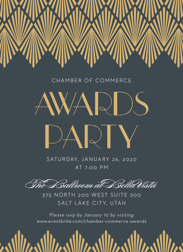 Celebrate the night away with our stunning Deco Lights Gala Invitations.