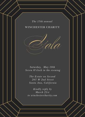 Celebrate the night away with our stunning Precise Facets Gala Invitations.