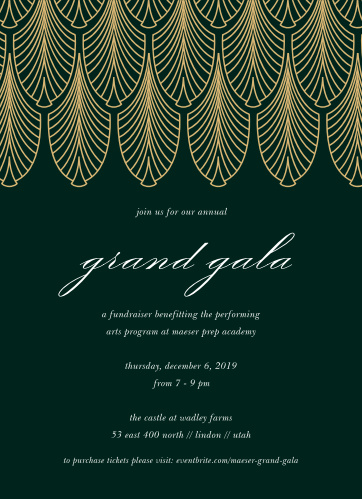 Celebrate the night away with our stunning Fancy Filigree Gala Invitations.