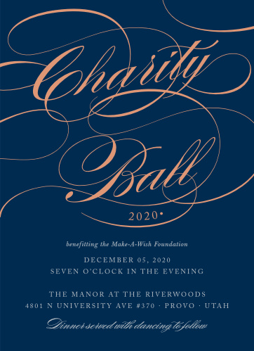 Celebrate the night away with our Scripted Charity Ball Gala Invitations.