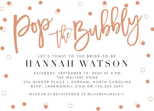 Celebrate in style with our Champagne Toast Bridal Shower Invitations!