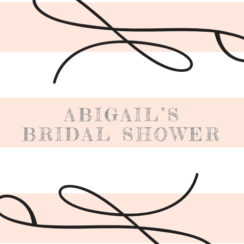 Our Lovely Bride Bridal Shower Stickers feature soft pink stripes and bold flourishes.