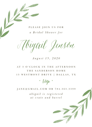 Our Spring Leaves Bridal Shower Invitations are simply designed.