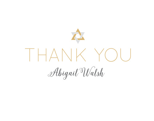 Our Wonderfully Weaved Bat Mitzvah Thank You Cards utilize the same gorgeous design and color scheme as several other cards in the Wonderfully Weaved mitzvah suite.