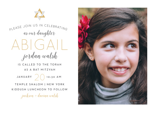 Celebrate one of the most important moments of her life- coming of age- with our stunning Wonderfully Weaved Bat Mitzvah Invitations.