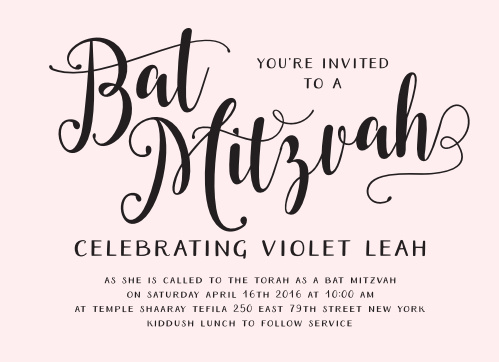 Celebrate one of the most important moments of her life- coming of age- with our stunning Splendid Glamour Bat Mitzvah Invitations.