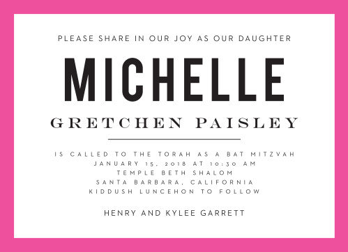 Celebrate one of the most important moments of her life- coming of age- with our stunning Art Pop Bat Mitzvah Invitations.