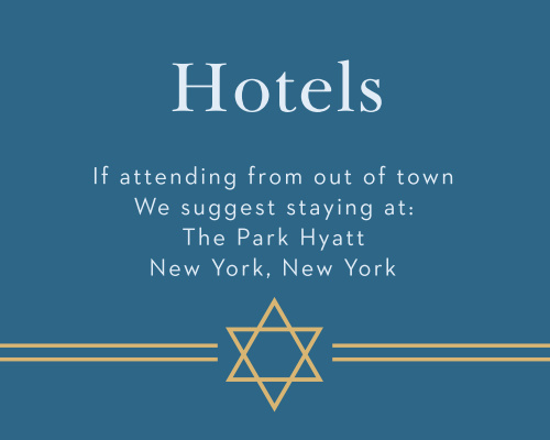 Recommend only the best local hotels to your guests with our stunning Cutting Edge Bar Mitzvah Lodging Cards.