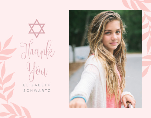 Our Enchanted Leaves Bat Mitzvah Thank You Cards utilize the same gorgeous design and color scheme as several other cards in the Enchanted Leaves mitzvah suite.