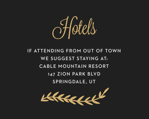 Recommend only the best local hotels to your guests with our stunning Gilded Vine Bat Mitzvah Lodging Cards.
