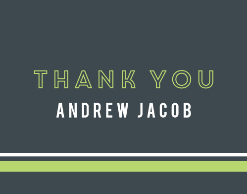 Turn your gratitude into something tangible with our Contemporary Lines Bar Mitzvah Thank You Cards.