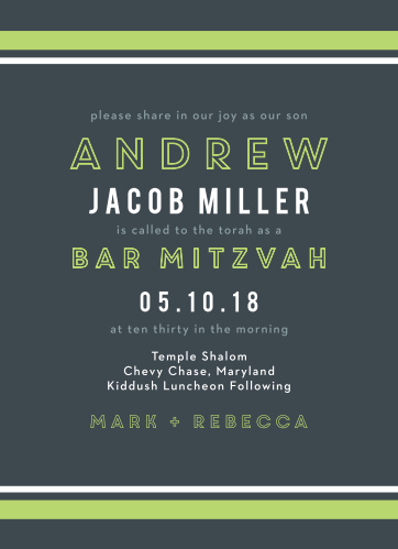 Our gorgeous Contemporary Lines Bar Mitzvah Invitations are irresistibly modern- both in style and simplicity.