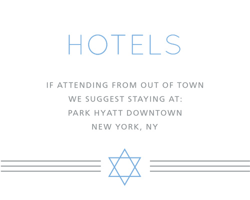 Recommend only the best local hotels to your guests with our stunning Simply Classic Bar Mitzvah Lodging Cards.