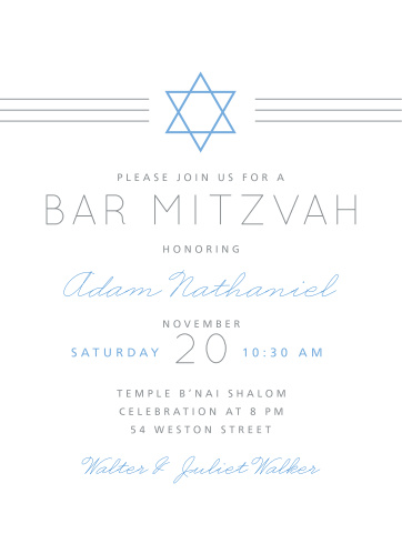 Celebrate one of the most important moments of his life, coming of age, with our stunning Simply Classic Bar Mitzvah Invitations.