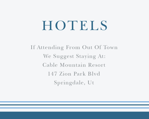 Recommend only the best local hotels to your guests with our stunning Mod Tallis Bar Mitzvah Lodging Cards.